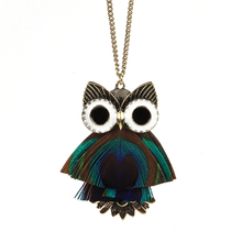Owl peacock feathers ancient bronze long necklace Handmade bohemian fashion girl necklace national wind sweater chain