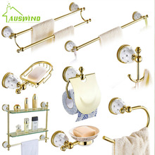 Stars & Crystal Bathroom Accessories Sets Solid Brass Gold Hardware Wall Mounted Bathroom Hardware Set Q55(China)