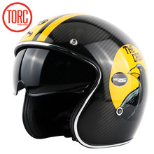 TORC carbon fiber retro motorcycle helmet leather lined built-in lens with eye groove vintage helmet ECE proved capacete torc(China)