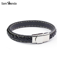 2017 Black Genuine Leather Bracelet Men Bangle With Stainless Steel Fashion New Men Jewelry Rock Chunky Mens Bracelets 13M0563(China)