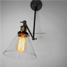 Free Shipping Retro Fold Arm Glass Wall Sconce Light Lamp Black Metal Bedroom Wall Fixture Lighting