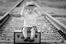 Cute Children Baby Black White Travel Railroad Train Tracks Baby Fabric Silk Poster Print Home Decoration B0410-6(China)