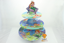 Free Shipping 1 X Cartoon Mermaid Cupcake Holder Birthday Baby Shower Party Cardboard Cupcake Stand Hold 24 Cupcakes