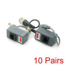 10x RJ45 Transceiver UTP Balun BNC Video DC Power Twisted Pair CAT5 For CCTV(Hong Kong,China)