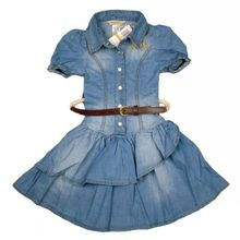 2016 new arrivals girls's dress with sashes children's summer clothes girl denim dresses for 2-8 years