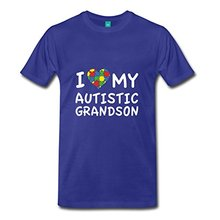 Custom Tee Shirts Fashion Men O-Neck Love My Autistic Grandson Short-Sleeve T Shirts
