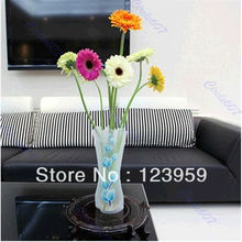 E74 10pcs/lot Plastic Unbreakable Foldable Reusable Flower Home Decor Vase wholesale/retail