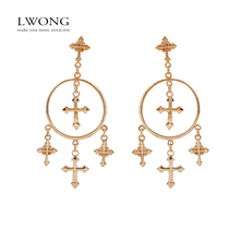 New Fashion Multiple Cross Dangle Earrings Jewelry Vintage Gold Color Cross Chandelier Earrings for Women Best Gift