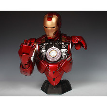 SOSO COOL!  1:2 Scale Iron Man Sideshow MK6 Tony Strak  !NEW IRON MAN MODEL 41CM Resin BUST With Led Eye and breast core energy