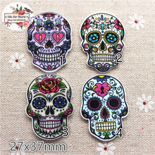 10pcs Resin planar cute mix sugar skull flat back Art Decoration Charm Craft DIY hair bow center accessories(China)