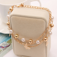 2018 Gold Color Multilayer Beaded Pendant Bracelets and Bangles Fashion Women Heart Butterfly Charm Bracelet Jewelry Accessories