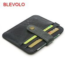 BLEVOLO Vintage Card Holder Genuine Leather Hasp Cards Package Thin Bank Credit Card Wallet Oil Wax Leather ID Holders Case Bag(China)