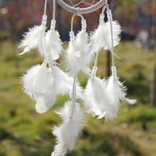 ETYA New Handmade White Dream Catcher Circular With feathers Hanging Decoration Decor Craft Native American Indian Style Gifts