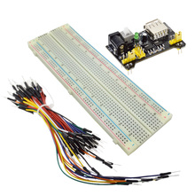 3.3V/5V MB102 Breadboard power module+MB-102 830 points Solderless Prototype Bread board kit +65 Flexible jumper wires(China)