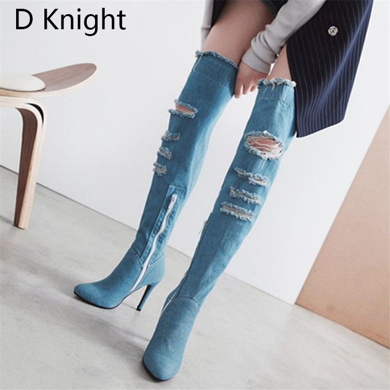 2018 Winter Boots Sexy Ponited Toe Women\`s Over The Knee Boots Fashion Denim Blue thigh High Boots Large Size 48 High Heels Boot (6)