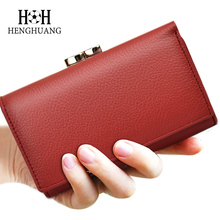 HH Women Genuine Leather Wallet Luxury Brand Short Wallets Female Kiss Hasp Coin Purse Mini Zipper Holder Purses Cluth Bags(China)