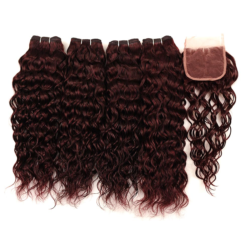 Brazilian Water Wave Hair Burgundy 4 Bundles With Closure Wet Wavy Pinshair Pre-Colored Dark Red Human Hair With Closure NonRemy (81)