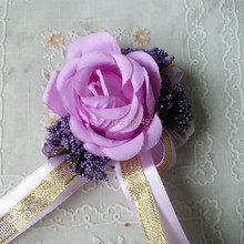 Free shipping Bridal silk Wrist flower rose wrist corsages for Wedding decorative flowers 10pcs/lot artificial flowers