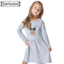 Sanlutoz 2017 Kids Dress for Girl Toddler Clothes Children Clothing Bunny Girl Dress Long Sleeve Cotton Brand Princess Party(China)
