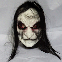 Black Long Hair Halloween Mask Full Head Horror Mask Party Goods Cosplay Ghost(China)