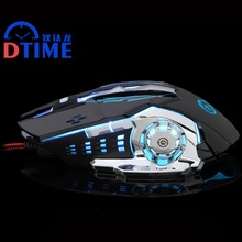 DTIME Brand Wired Optical Gaming Mouse PC Laptop Computer USB Game Gamer Mice  For LOL Dota2 CS 6 Buttons 5000DPI LED Lights