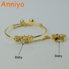 Anniyo New Resizable Baby Bracelet With zirconia/Bell Gold Color Jewelry Fashion for Kids