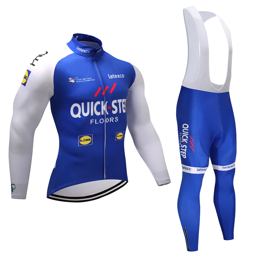 Winter 2018 Quick step Cycling team JERSEY Bike Pants set mens Ropa Ciclismo Thermal fleece Bicycle clothing Long Cycling wear<br>