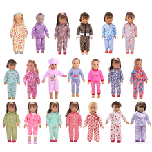 Dolls Alphabet Printed Pajamas Sleepwear Outfit for 18'' American Girl Dolls Dollfle Dress Up Dolls Clothes Dolls Accessories