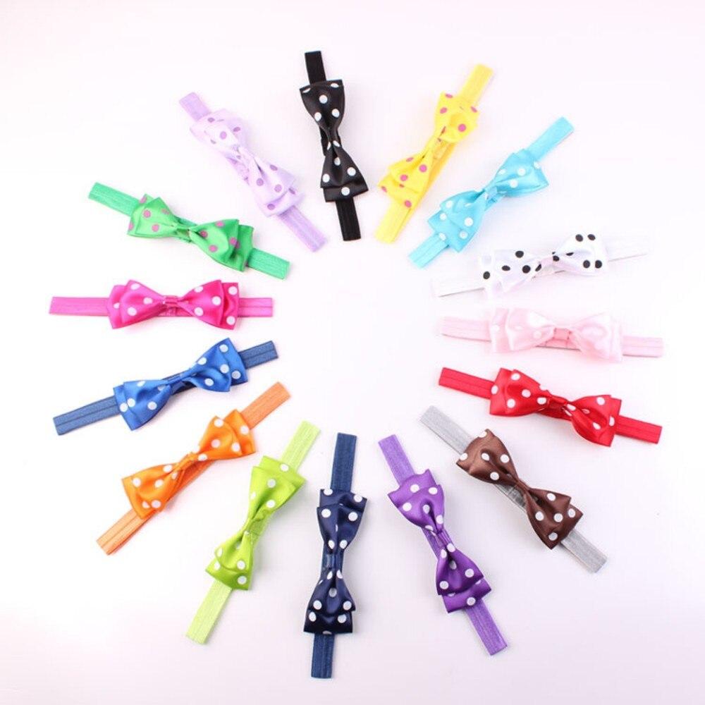 Babys Headband Elastic Cloth Wave Point Bowknot for girls Children  DIY Headwears Ivory Bow<br><br>Aliexpress