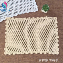 2017 new arrival 100% natural cotton crochet lace table runner for home decoration with solid color as plate pad for kitchen