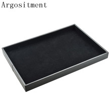 Argositment Jewelry Display Props Black Velvet Jewelry Flat Showing Tray Jewellry Holder Storage Boxes Case(China)