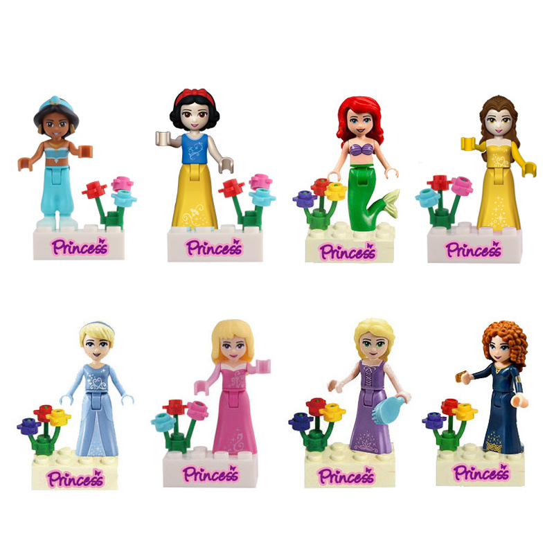 8pcs Fairy Tale Anna Elsa Princess Girl Friends Model Building Doll Minifigures Bricks Blocks Toy Gifts with legoe<br><br>Aliexpress