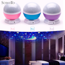 SowoTo Romantic Rotating Spin Night Light Projector Sky Star Moon Master USB Lamp Led Projection For Kids Baby Sleep Lighting