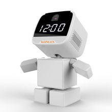 WIFI Clock Robot IP Camera PTZ HD Baby Monitor Wireless Remote Home Control Security 960P Night Vision Audio with TF Card Slot(Hong Kong)