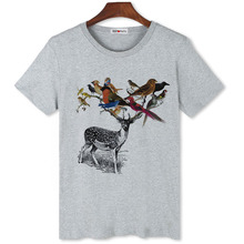 BGtomato Bird ,Deer personality art t shirt for men promotion sale original brand clothing crossfit shirts(China)