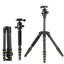 Foldable Carbon Tripod DSLR Camera Tripod Portable Extendable Video Tripod with Ball Head for Canon Nikon Sony Cameras