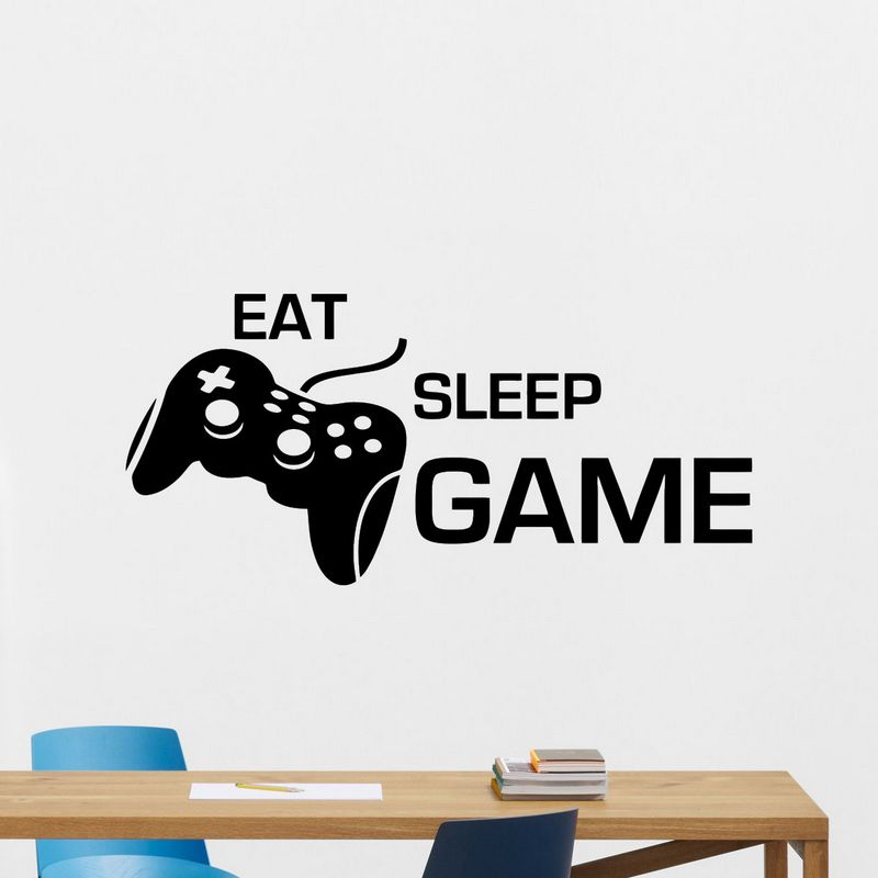 Game Handle Sticker Eat Sleep Play Gamer Decal Gaming Posters Gamer Vinyl Wall Decals Parede Decor Mural Video Game Sticker