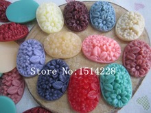 Free shipping! ( 18*25mm)oval resin flower . Resin Flatback Cabochon for Phone Decoration , DIY. Z42