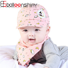 BalleenShiny NewBorn Baby Baby Hat Bibs Set infant gorras head beanies bebes kids Baseball Caps Baby Children 2017 New Arrival(China)