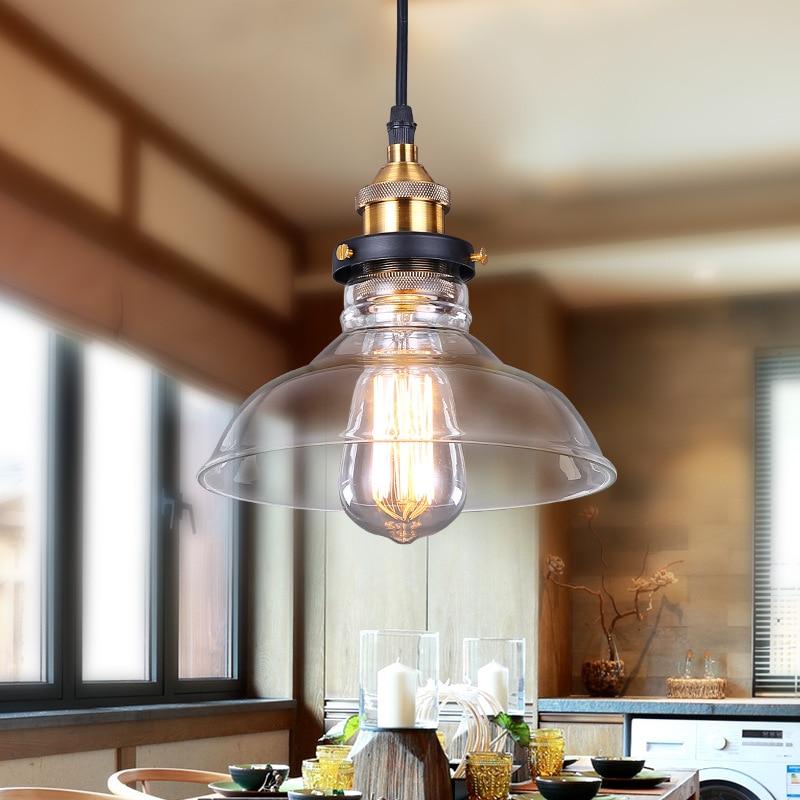 110V 220V American Industrial Vintage Creative Retro Loft Pendant Light Glass Bedside Aisle Restaurant Lamp E27 WPL120<br>