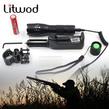 Z50 CREE XM-L T6 led tactical flashlight 5000Lm zoomable torch for Hunting +battery+Remote Switch+Charger+Gun Mount(China)