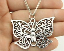 WYSIWYG Fashion Antique Silver Color 35*50mm Butterfly Pendant Necklace, 70Cm Chain Long Necklace