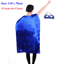 15 styles 110*70cm Adult Superhero capes cape with mask set Satin fabric Cosplay costumes Halloween Party gifts