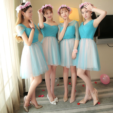 off shoulder cheap bridal modest girl blue party dress bridesmaide short bridesmaids summer ladies day dresses size 6 D4066