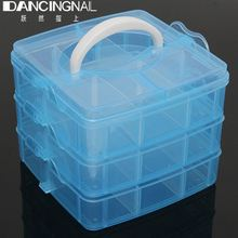 New 3 Layer Plastic Clear Nail Art Storage Boxs Case False Nails Rhinestones Jewelry Beads Organizer Container Makeup Box(China)