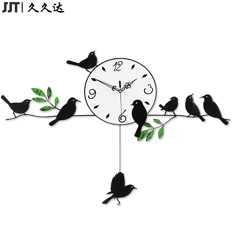 Large Decorative Birds Tree Iron Wall Clocks Unique Handmade Big Clock Horloge Murale Free Shipping(China)