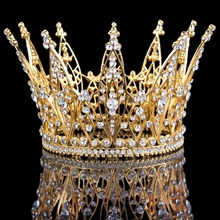 New Elegant Design Clear Crystal Queen Crown Pageant Wedding Bridal Party Crown Gold Color HG00122(China)