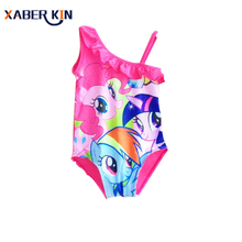 Little Horse Girls One Piece Swimsuit Kids Summer Swimwear Children Girls Beachwear New 2017 Swim Girls Swimsuit 3-10Y K293-CGR1