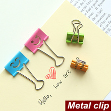 40 pcs/Lot Smile Metal clip cute Binder clips for album foto memo paper clips Stationary Office material School supplies 6630