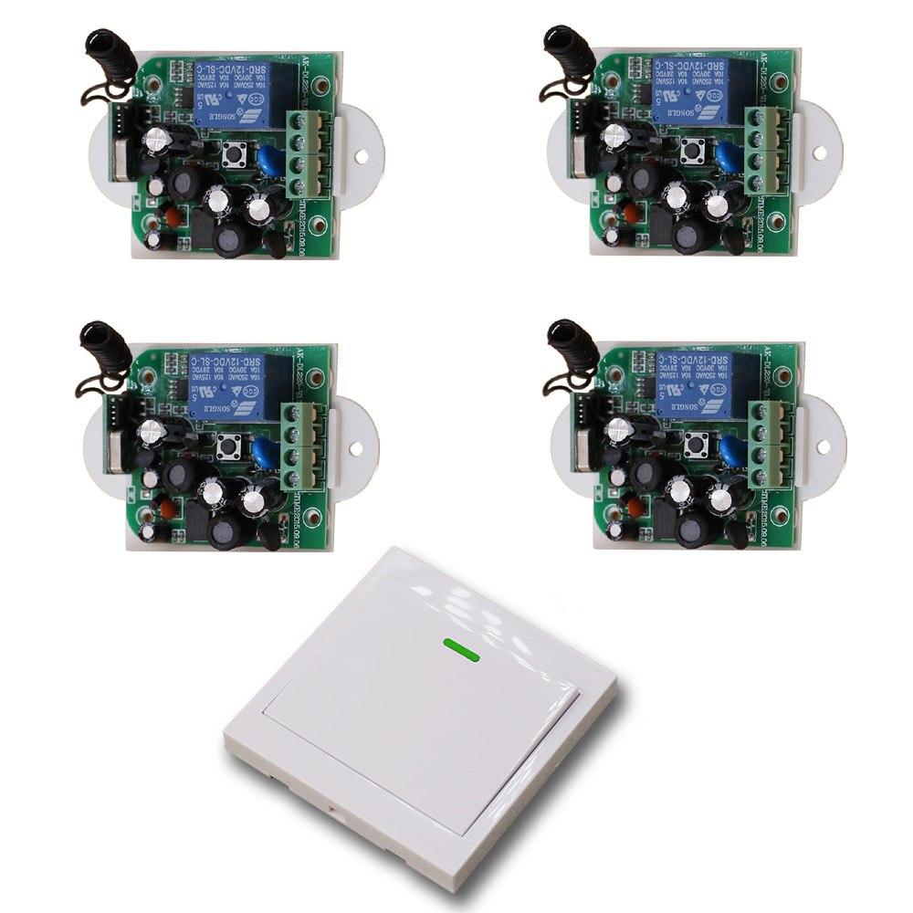 2017 AC85V 110V 120V 220V 250V Wide Voltage 1CH Wireless Remote Control Switch 4 Receiver +1 Transmitter for Lamp/Light 315/433<br>